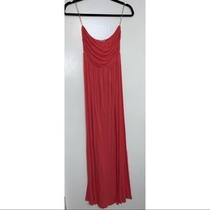 Strapless Coral Pink Maxi Dress